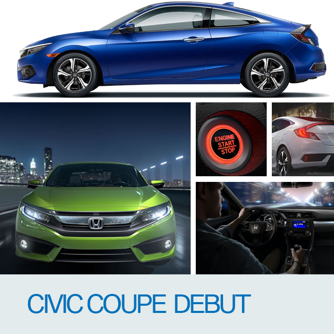 The all-new Civic Coupe arrives: stylish, refined, dynamic and connected.
